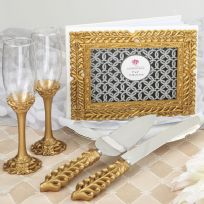 Gold Lattice Botanical Wedding Set